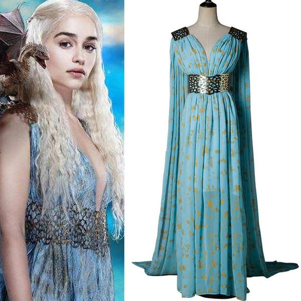 Game of Thrones Daenerys Targaryen Dany Cosplay Costume Long Dress Stormborn Targaryen The Unburnt Mother of Dragon Halloween Costumes