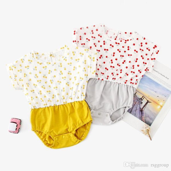 INS New High-end 100% Cotton Toddler Baby Girl Rompers Ruffles Fly Short Sleeve Cherry Printing Patchwork Jumpsuit Newborn Onesies for 3-18M