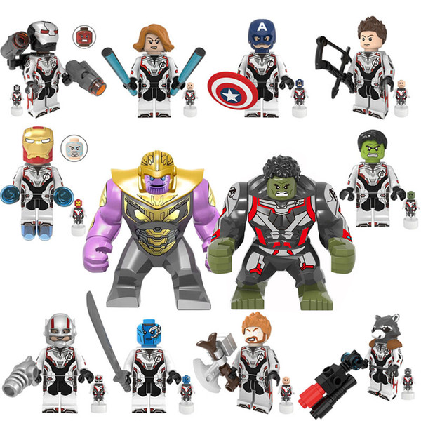 Marvel Avengers Endgame Super Heroes 12 heroes Thanos Hulk Captain America Ant-man Building Blocks Rocket Tony Stark Bricks baby Kids Toys