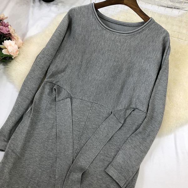 top popular Hot sale Autumn Winter O Neck Long Sleeve Solid Color Ladies Loose Casual Women Dress Lady Bodycon Robe Dresses S M-in Dresses from Women 2021