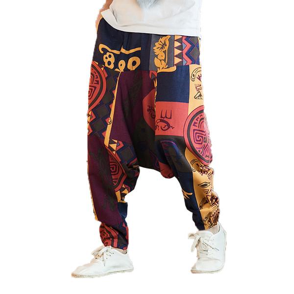 Hombres de verano Pantalones flor Pantalones de algodón de impresión de los hombres Pantalones de lino masculino Hombre suelto estilo chino playa