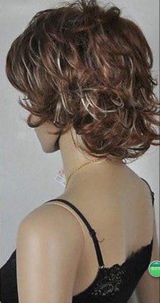 Perücke UKJF105 Mode neue kurze lockige gewellte Frauen braun Cosplay Perücke