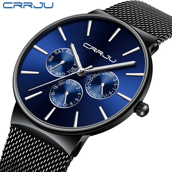 Reloj Hombre 2019 Crrju Top Brand Luxury Men Watches Waterproof Ultra Thin Date Wrist Watch Male Mesh Strap Casual Quartz Clock C19041601