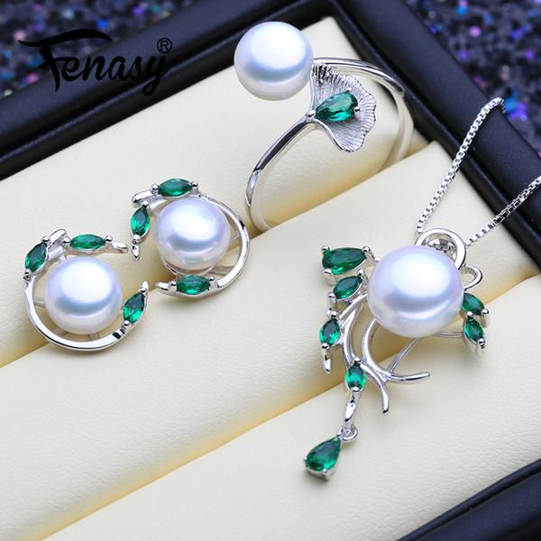 FENASY 925 Sterling Silver Emerald Pearl I monili della vite prigioniera orecchini naturali Bohemian Collana Donne verde Pietre Anello