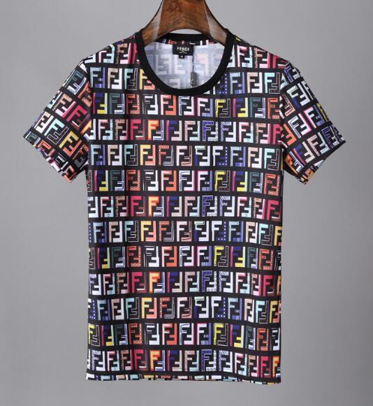 2019 moda de verano camiseta de los hombres de cuello redondo de manga corta de algodón Jersery camiseta para hombre de impresión FF Casual Tops 1738