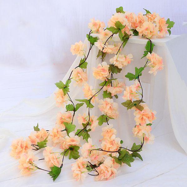 220cm 18 fleurs Simulation de fleurs de cerisier rotin Fleur Feuille Couronne Parti de mariage Arche Chaise Porte décoration rapide envoyé