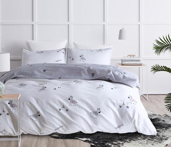Cute Cartoon Bedding Set 3 pezzi di zebra albero di natale stampato copripiumino con federa matrimoniale king size