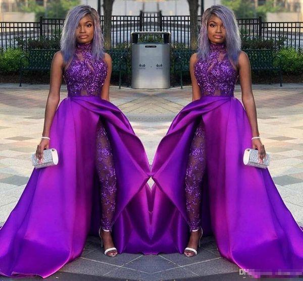 2019 monos clásicos vestidos de baile con tren desmontable cuello alto de encaje apliques de abalorios vestidos de noche de lujo del partido africano mujeres trajes de pantalón