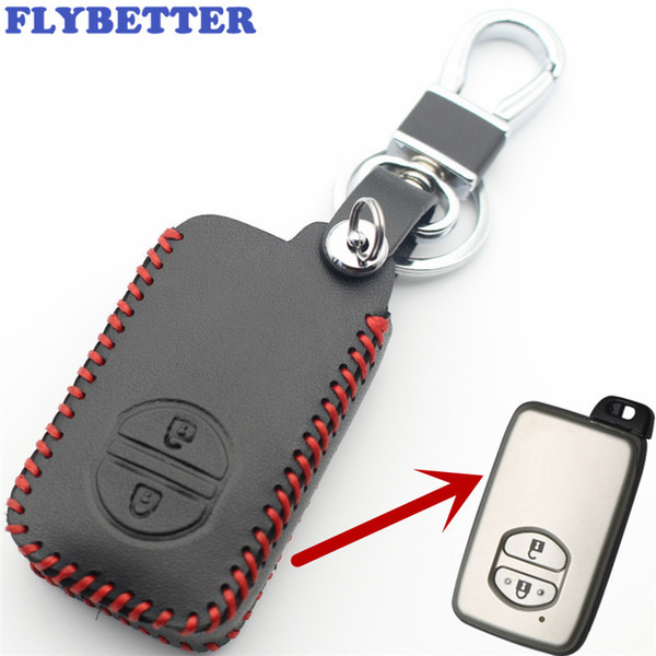 FLYBETTER Genuine Leather 2Button Smart Key Case Cover For Toyota Camry/Crown/Highlander/Prado/Land Cruiser Car Styling L2106