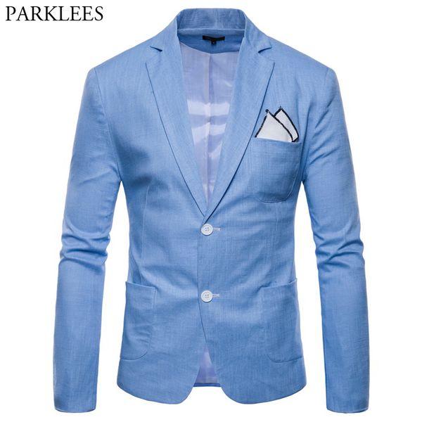 Hombres de lino de algodón chaqueta ligera chaqueta Slim Fit traje de un solo pecho Homme Casual Party Blazer para hombre joven chico