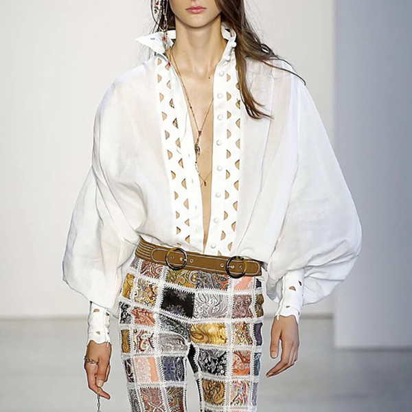Marka Tasarımcısı Pist Kadın Bluz 2019 İlkbahar Yaz Moda Standı Yaka Uzun Fener Kollu Şeffaf Parti Kokteyl Gömlek Oymak