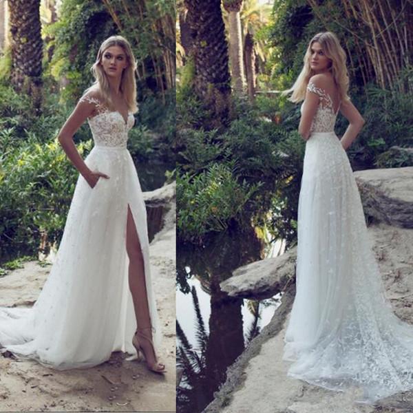 Limor Rosen Últimos vestidos de novia Ilusión fuera del hombro Barrido del tren Sin espalda Jardín Playa Vestidos de novia Apliques de encaje Una línea Vestidos de novia