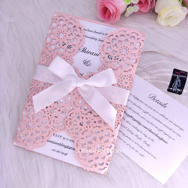 Elegant Floral Wed Invitations Pink Laser Cut Fold Quinceanera Invite Bridal Shower Invitation Card With Ribbon Baptism Invites Party Favors