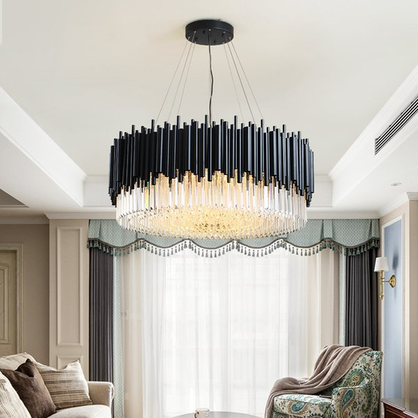 Großhandel Wyiyi Black Round Kronleuchter Beleuchtung Luxus Moderne LED  Kristall Lampe Wohnzimmer Edelstahl Hanglamp Cristal Home Glanz USV Von  Wyiyi, ...