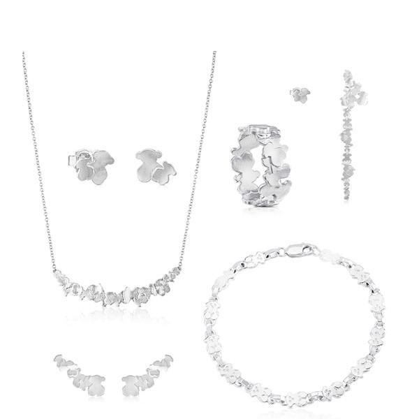 100% 925 Sterling Silver Orso Anelli dell'orecchio lunghi orecchini Moda 2019 elegante della clavicola della collana della catena del braccialetto dell'anello