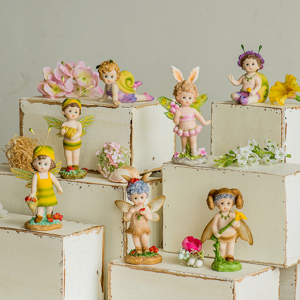 Cartoon Mini Fliegende Blumen Fee Miniatur Figurine Bonsai Craft Diy Dollhouse Garten Ornament Dekoration Spielzeug C19041601