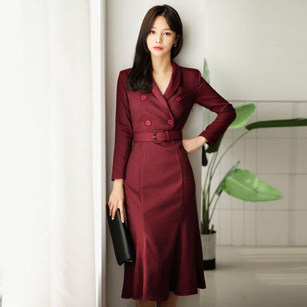 Оптовая стиль Вино красное платье женщин элегантный двубортный пояса женский Vestidos 2018 V-образным вырезом средней длины одежда для бизнеса платье