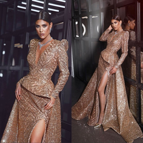 Gorgeous Long Sleeve Evening Dresses With Gold Sequined Front Slit 2019 Mermaid Prom Dresses Mother of the Bride Gowns