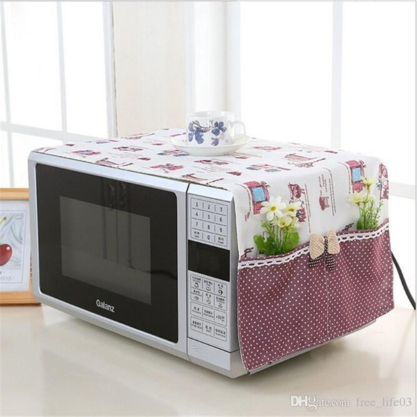 Free Shipping 1pcs 98*32cm small flower Cotton Dust Cover Microwave Cover Microwave Oven Hood Microwave Cover With Storage Bag