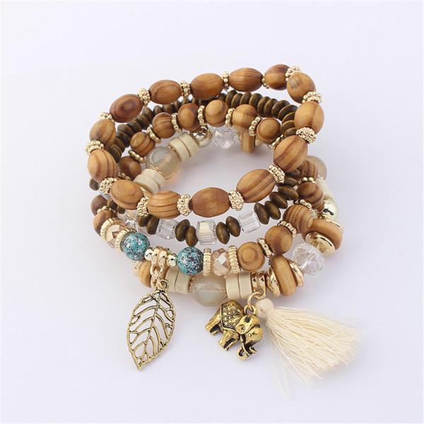4pcs Boho Charm pendentif bricolage Perles Bracelets Set Femmes Pierre Bracelet Bangles Acrylique Amitié Cadeau 125758