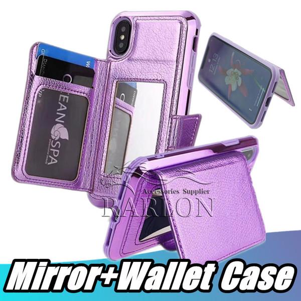 Fundas de cuero para billetera con ranuras para tarjetas de crédito y estuches para teléfonos con espejo de maquillaje Estuche Holde Kickstand para iPhone Xs Max 8 7 Plus X Samsung S10