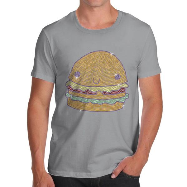 Erkek Kawaii Rhinestone Diamante Çizburger Pamuk T-Shirt cattt rüzgarlık Pug tshirt