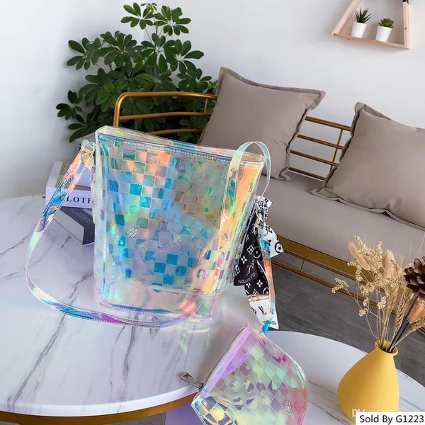 Designer em linha saco bolsas das senhoras mulheres transparentes coloridos s Bucket