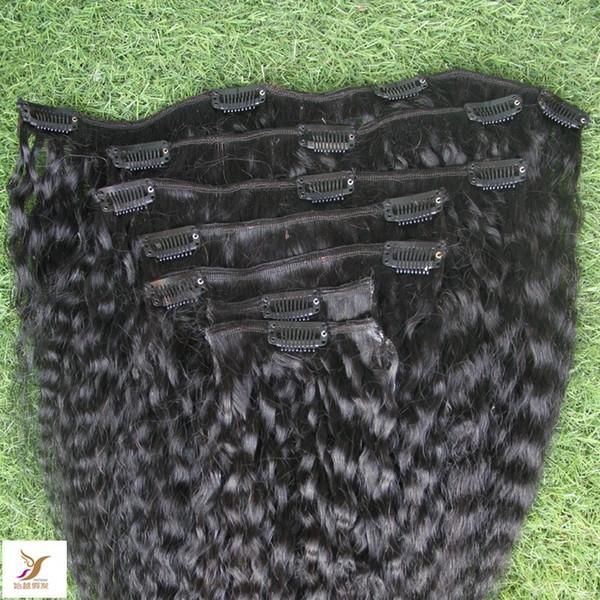 Jet d'encre Couleur Noir Afro Kinky Curly clip Ins Human Hair Extensions tête pleine 8 Clip-in Pcs 100G 10-30 Inhcs Clips de Mongolie Remy Hair