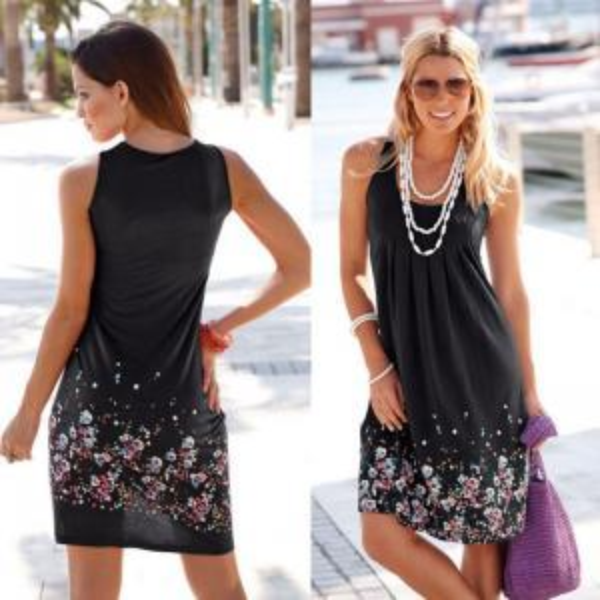 Женщины цветочные платья девушка цветок печати рукавов качели жилет платья Лето повседневная пляж жилет платье футболка леди Одежда 10 цветов GGA1590
