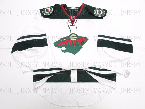 Cheap custom MINNESOTA WILD AWAY JERSEY GOALIE CUT 58 stitch add any number any name Mens Hockey Jersey