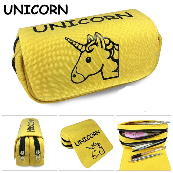 Cartoon Pencil Cases Stationery Storage Bag 2 colors wallet unicorn Pencil Bag School Office Supply Kids Gift Purse wang