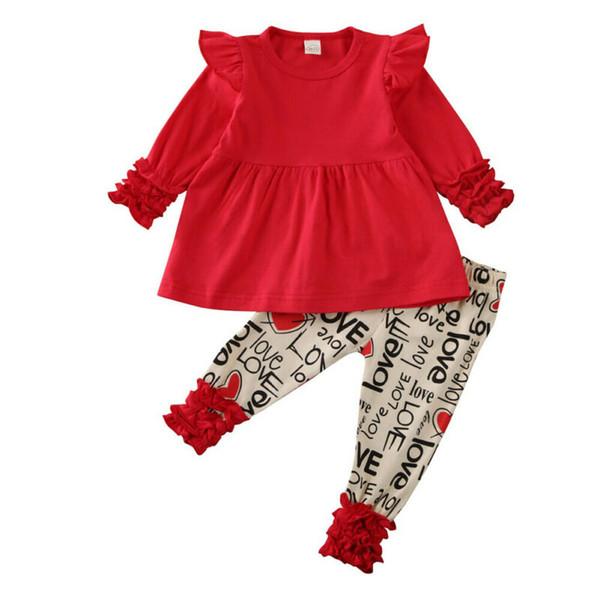 Giorno Outfit Set 2 pezzi neonata dei capretti vestiti Set Top Ruffle abito pantaloni di cotone ragazze di San Valentino 1-5 anni