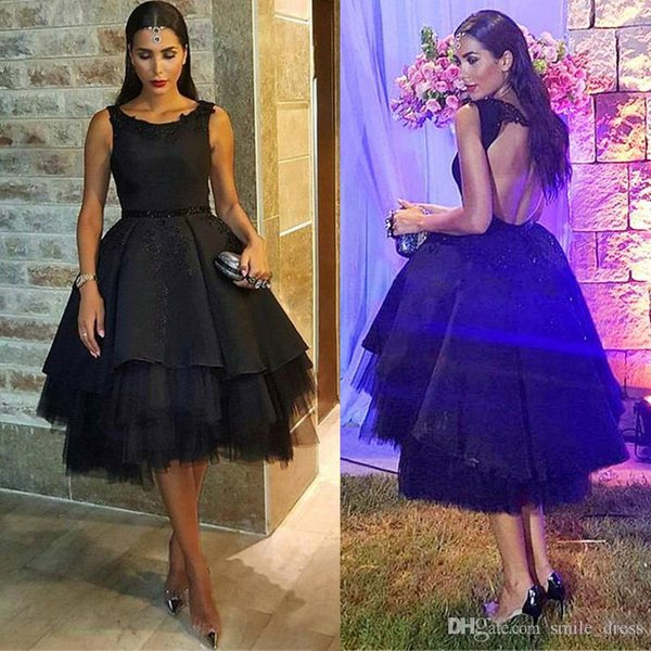 New Ball Gown Backless Short Dresses Scoop Formal Satin and Tulle Elegantes Evening Gowns robe soiree courte Black Prom Dre