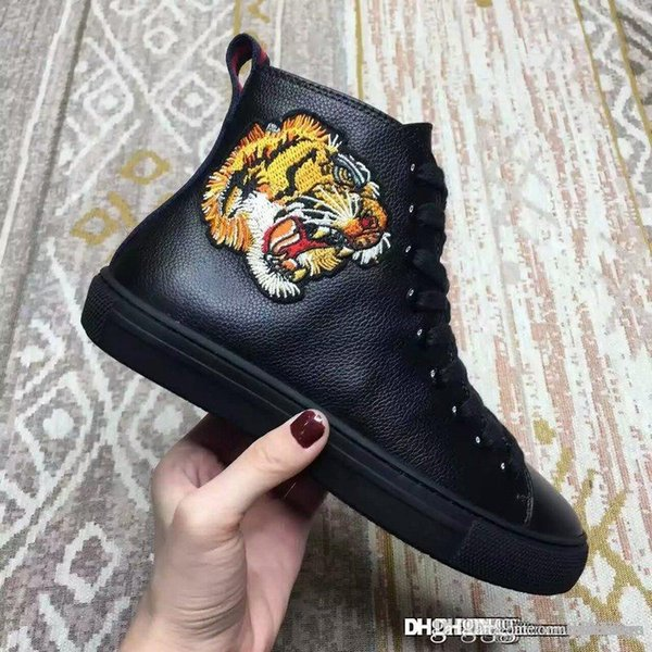 Major High-Top Sneaker w/Tiger Patch Black Tiger pattern Black high top Sneaker Leather Blind for love embroidered tiger