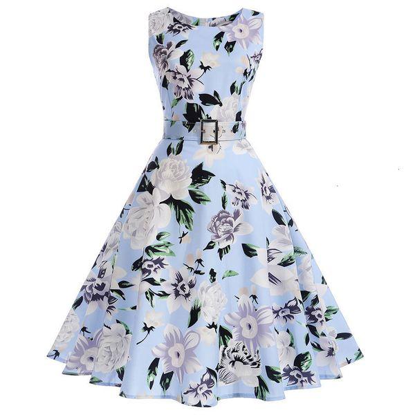 Vestido de fiesta de la mujer ropa floral del verano vestido de la vendimia ocasional de la impresión de los vestidos sin mangas s 50S 60S elegante Rockabilly Pin atractivo encima con cinturón