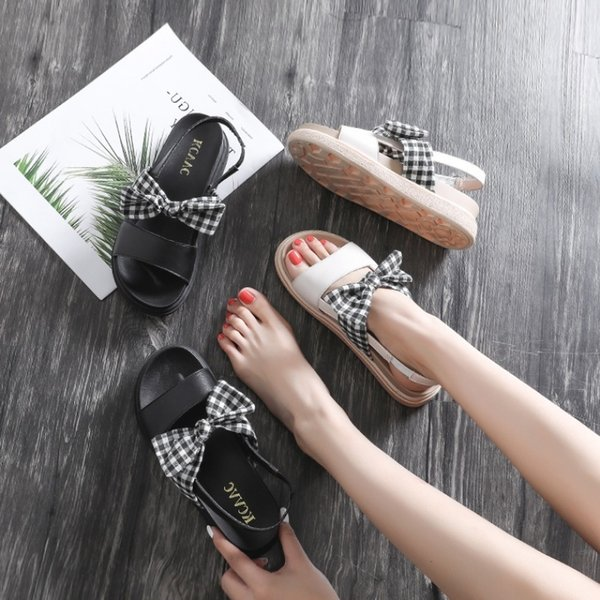 Sexy2019 Hong 2019 Kong Flavor Leisure Time Original Old Sandals Woman Xia Pingdi Student Rome Flange Shoes