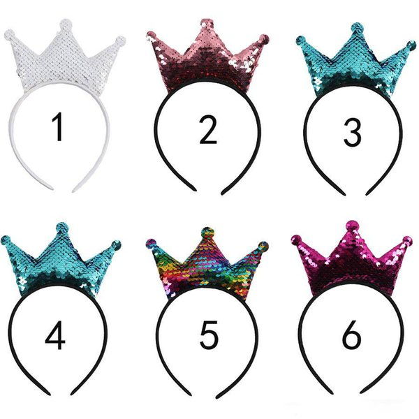 Kids Reversible Sequin Crown Mouse Ears Hairband Boutique Children Hard Headband Photography Props Baby Girls Hair Accessories