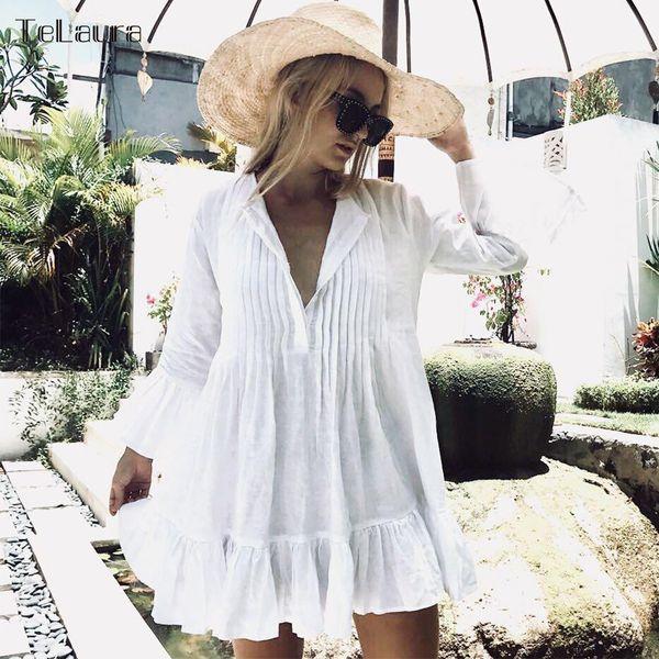 Sexy White Crochet Beach Tunic Women Bikini Cover-ups Beachwear Female Swimsuit Cover Up Loose Dress Swimwear Q190521