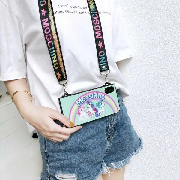 For Iphone Xr Xs Max Phone Case Fashion Unicorn Portable Diagonal Backpack 6 7 8 X Plus Silicone Soft Edge Cell Phone Cases