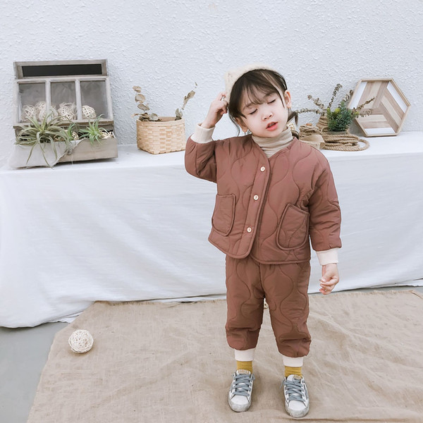 2019 Winter New Arrival korean style cotton clothing sets pure color fashion thickened suit for cute sweet baby girls and boys
