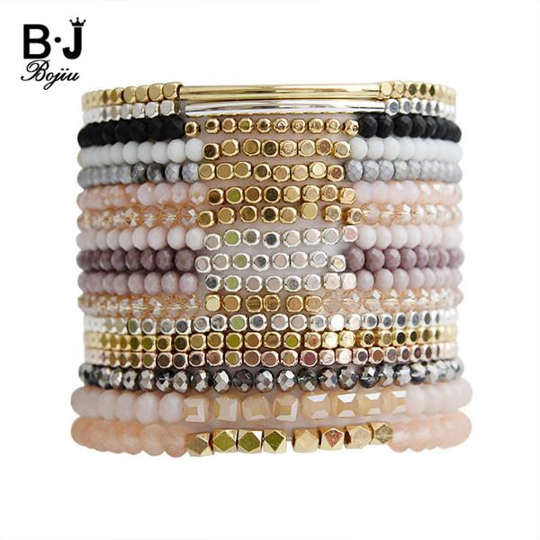 BOJIU Multicouleur Cristal Strand Bracelets Pour Femmes Or Acrylique Perles De Cuivre Rose Blanc Noir Gris Cristal Bracelet Femme BC226