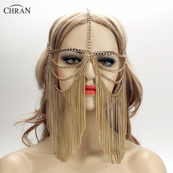 Chran Altın Seksi Kadınlar Çok Katmanlı Püskül Kafa Zincir Headdress Takı Alın Kafa Chainmail Yüz Maskesi Vücut Takı CRB4139