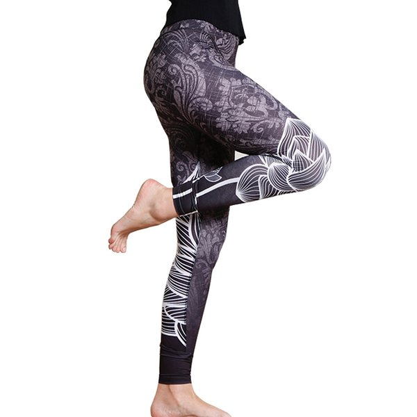 Grey Flower Printing Women Workout Leggings Sexy Fitness Women Pencil Pants High Waist Quality Comfortable Sportswear For Female