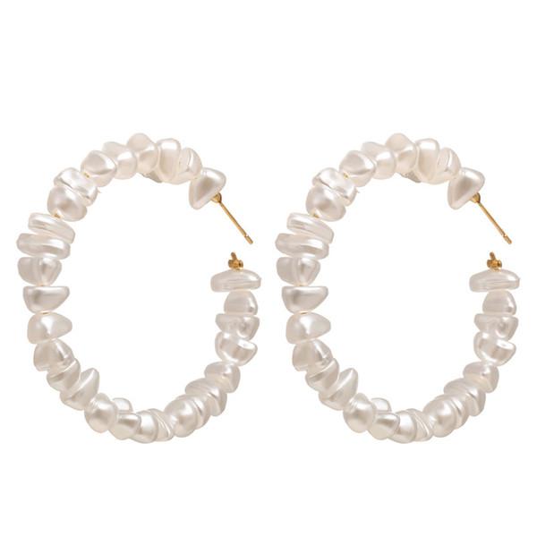 2019 New Arrival ZA Designer Earrings Natural Freshwater Pearl Hoop Earrings Fashion Gold Metal Circle Designer Hoop Earrings Jewelry