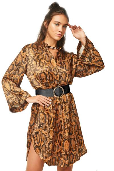 Women Sexy Shirt Dress Snake Printed Designer Spring Fashion Dresses with Sashes Vestidoes