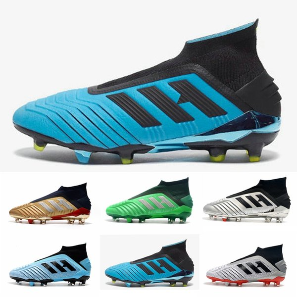 2019 New 25 Years of Predator 19+ Mens kids Football Boots Hard Wired FG Soccer Cleats Laceless chaussures de football size 3-11