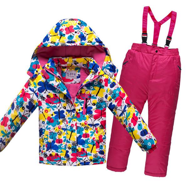 OLEKID -30 Degree Russia Winter Children Boys Clothes Set Thick Warm Waterproof Windproof Jacket Coat + Overalls Girls Ski Suit