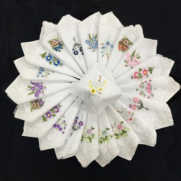 100% del fiore del merletto di cotone vintage Ricama Fazzoletto Donne Fazzoletto Piazza fazzoletto bianco Femminile tovagliolo di cotone sudore asciugamano