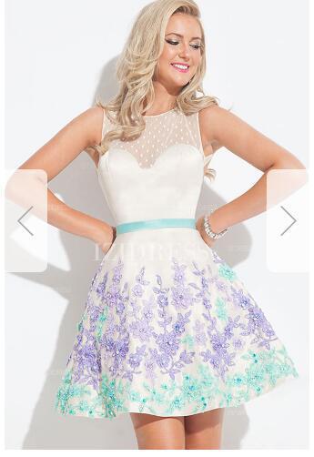 Ball Gown Jewel Short/Mini Elastic Woven Satin Prom Dress e25