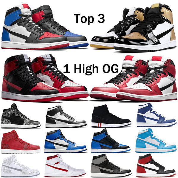 Mens 1 high OG basketball shoes 1s NRG igloo banned chameleon shadow white black toe elephant print Chicago royal Track red sneakrs trainers